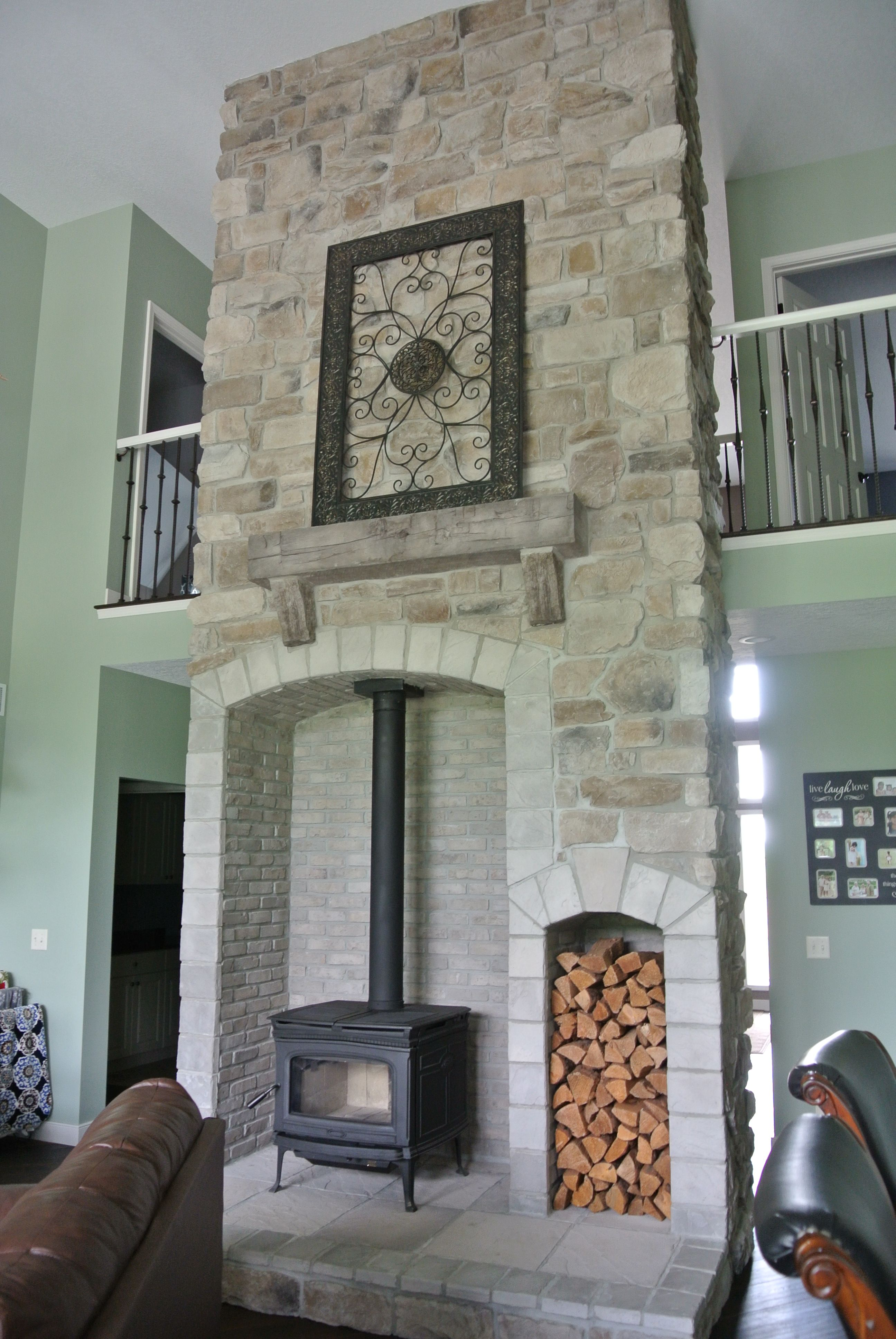Stoned Ceiling High Wood Burning Stove with Barn Beam Mantle Price Quartz J&N Stone