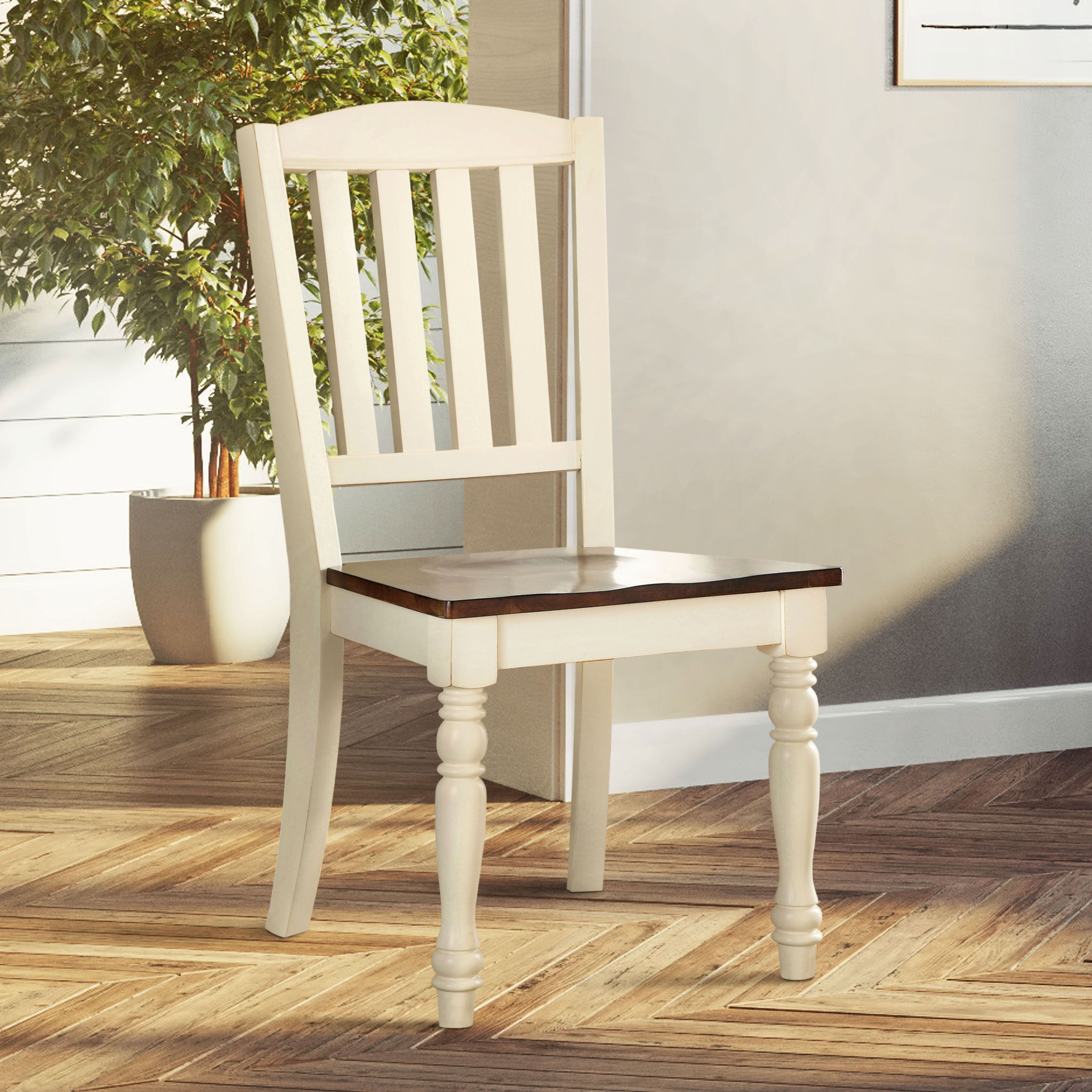 cottage style chairs outdoor chair cushion covers the gray barn castlefarm 2 tone dining set of vintage white dark oak brown veneer