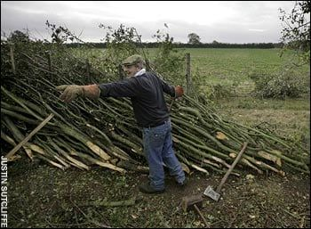 A competitor in the National Hedgelaying Championship