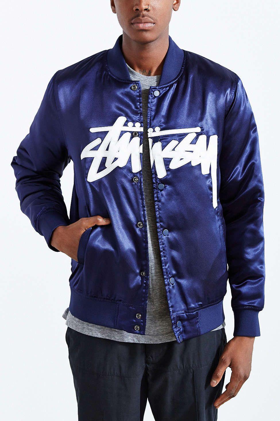 015b17a5290b STUSSY Stock Satin Varsity Jacket
