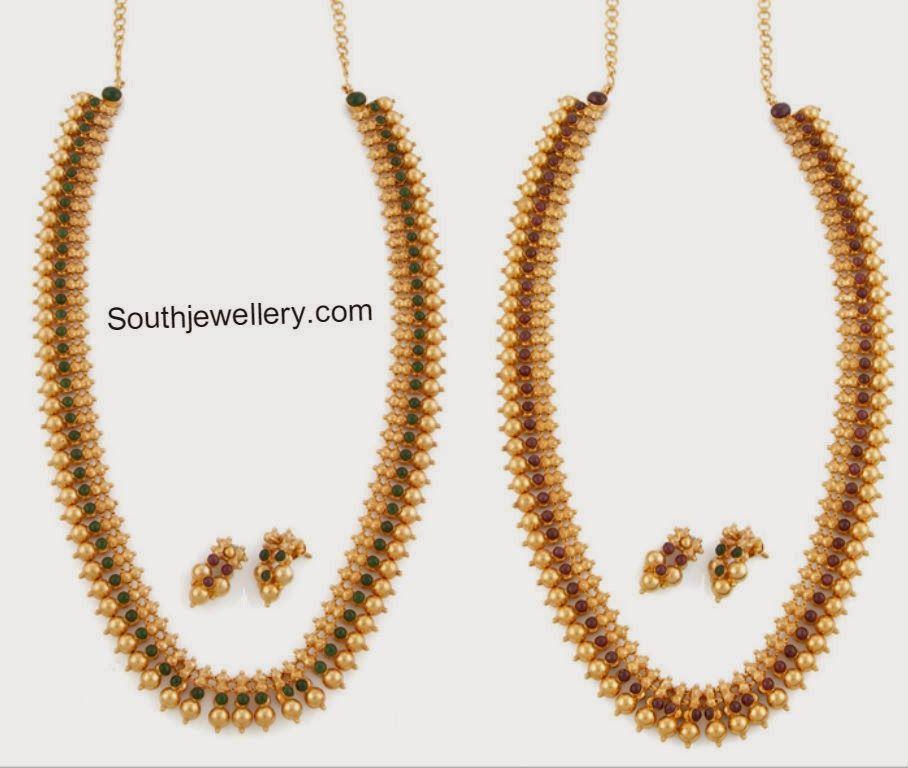 2 In 1 Reversible Gold Balls Haram Latest Jewellery Designs Pearl Jewelry Design Gold Bride Jewelry Black Beaded Jewelry