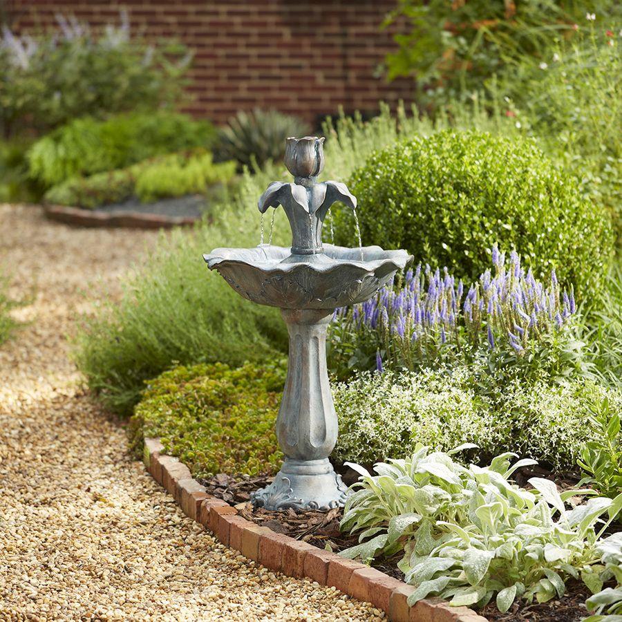 Shop Garden Treasures 36 22 In Fiberglass Tiered Fountain 400 x 300