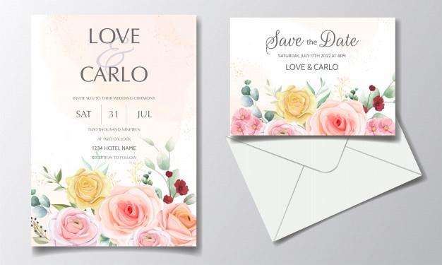 Wedding Invitation Card Set Template With Beautiful