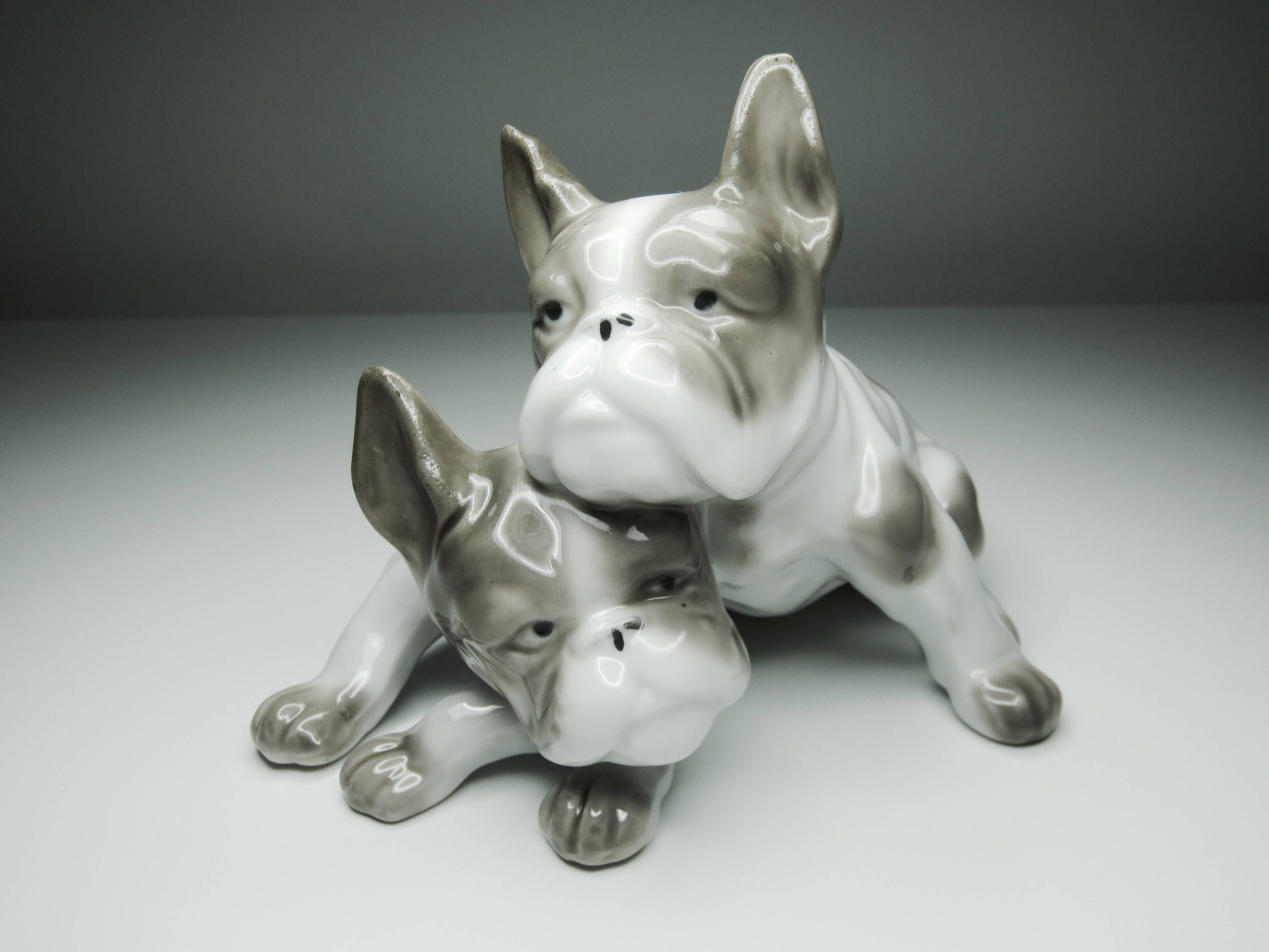 Pretty French Bulldogs Light Grey And White Great Vintage