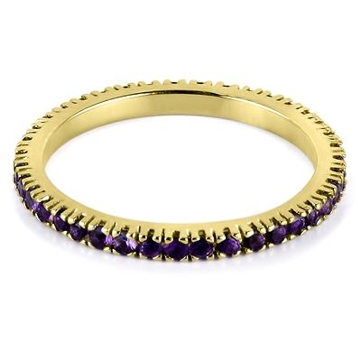 18ct yellow gold & amethyst full eternity ring from Hatton Jewels