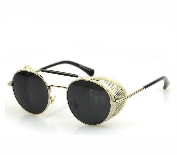 Steampunk Sonnenbrille 50er Jahre Runde Gläser Sonnenbrille für Frauen Oval Frame Metall Scharniere Sonnenbrille Leder Männer und Frauen Sonnenbrillen ( Color : D ) O7rAX