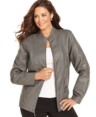 Alfani Plus Size Jacket Quilted Faux Leather Diwali Special