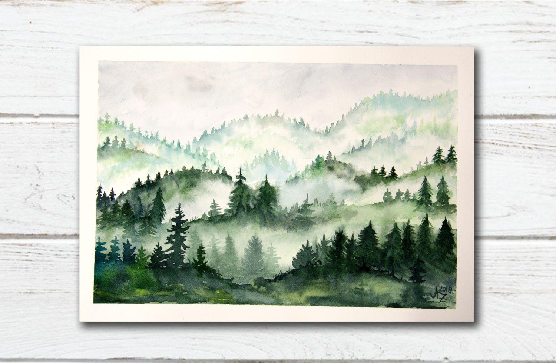 Original Aquarell Malerei Aquarell Nebel Aquarell Wald 21x15