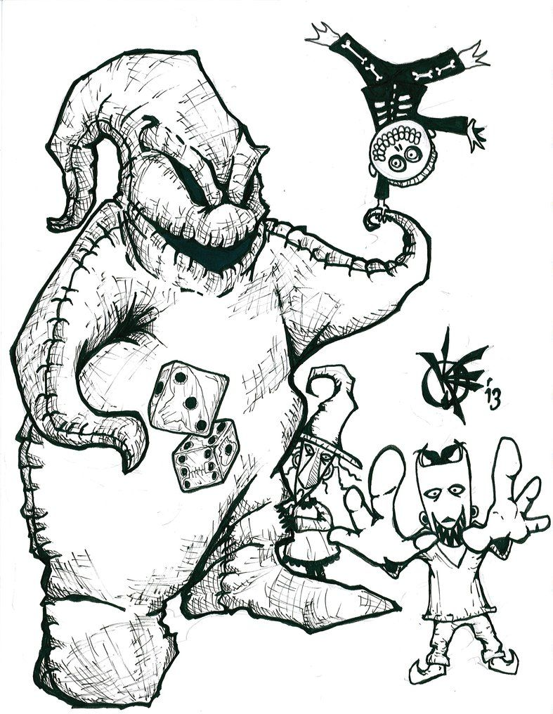 Oogie Boogie And Lock Shock And Barrel Inks Nightmare Before Christmas Tattoo Oogie Boogie Coloring Pages
