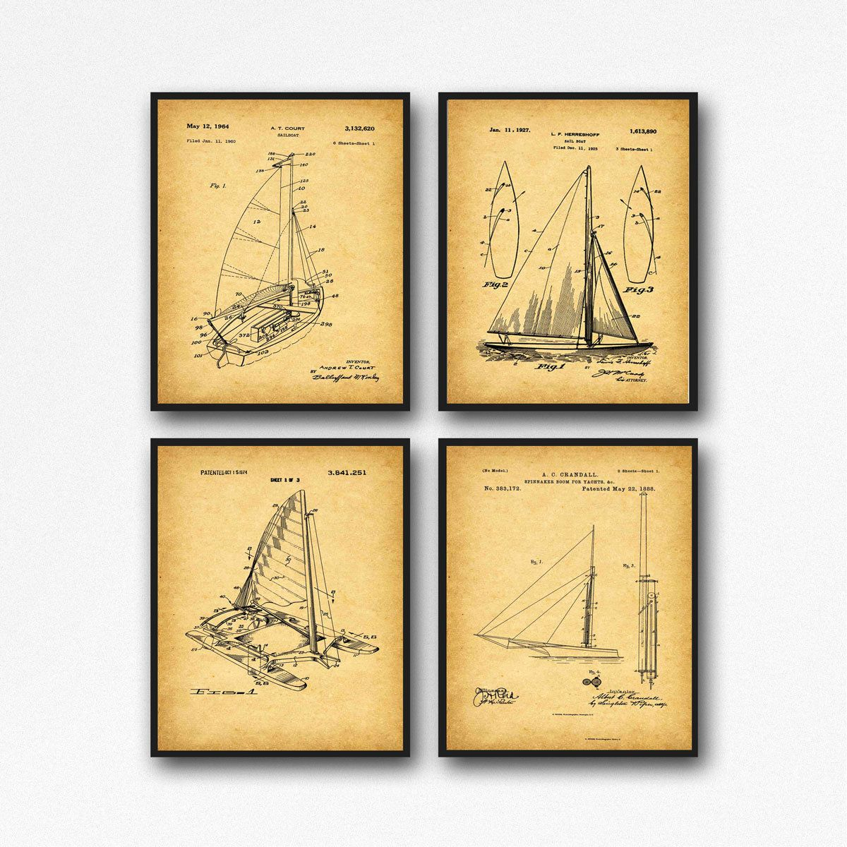 Nautical Poster Set Boat Wall Art Boat Print Boat Posters Nautical ...