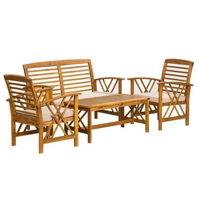 Debenhams Acacia wood \'Panama\' table, bench and 2 carver chairs ...