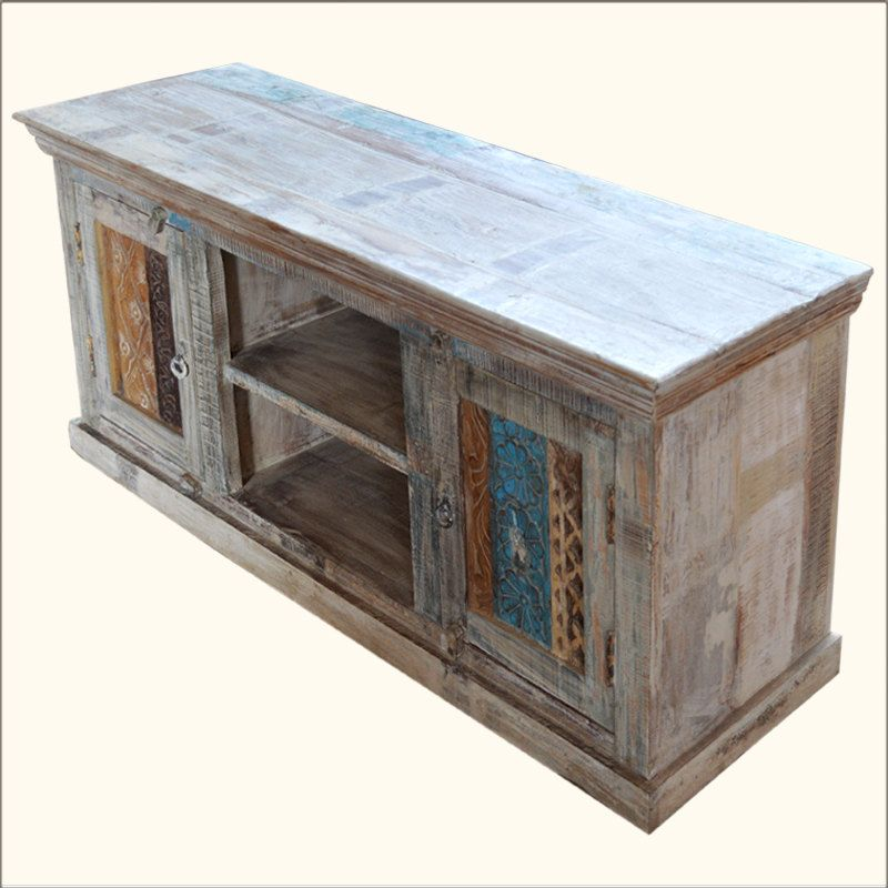 Tv stand storage distressed old reclaim wood tv for Barnwood media cabinet
