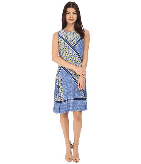 Donna Morgan Sleeveless Printed Jersey with Pleated Skirt