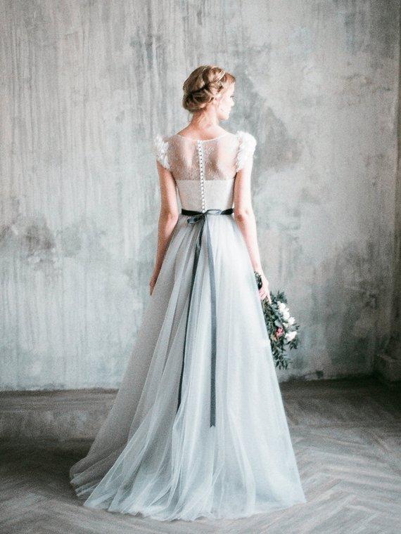 Romantic Grey Wedding Dress Neva Lace And Tulle Pastel Wedding Dresses Grey Wedding Dress Tight Wedding Dress