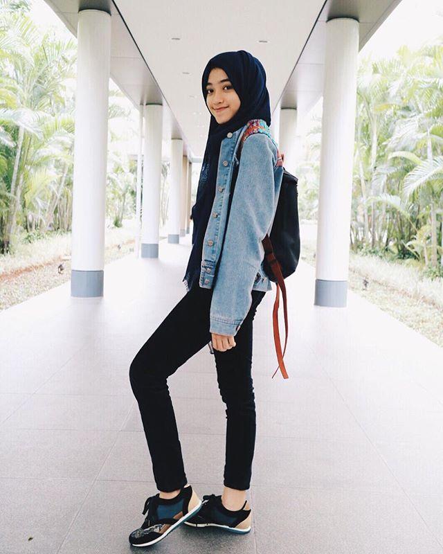 Oversized Denim Jacket Hijab Inspiration By Shirin Al Atrus