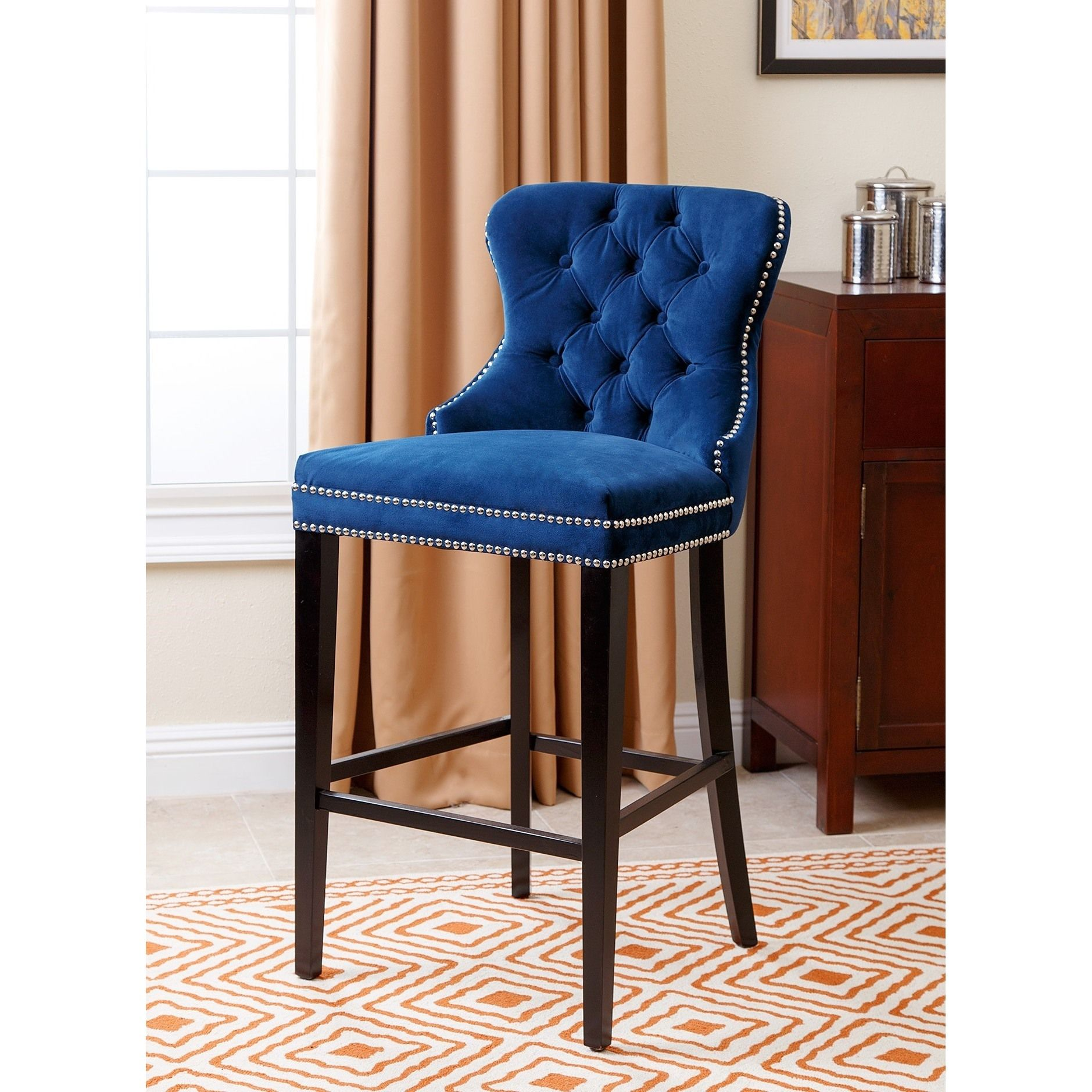 Abbyson Versailles 30 Inch Navy Blue Tufted Bar Stool Upholstered Bar Stools Abbyson Living Bar Stools