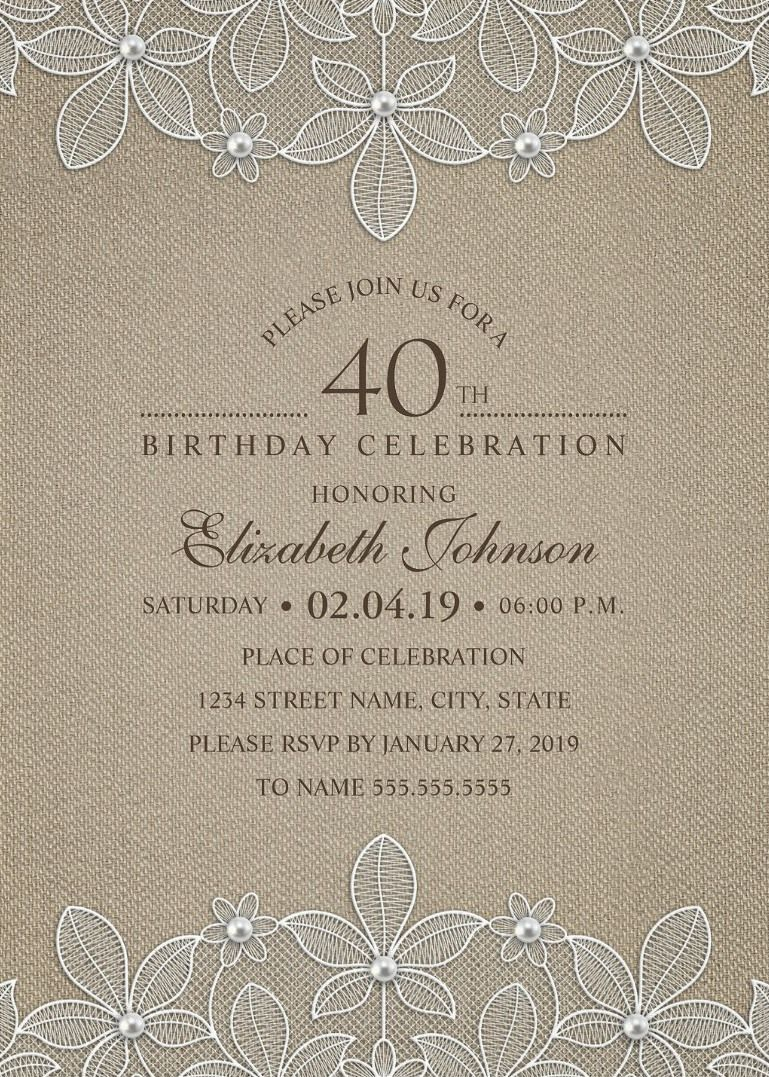 Rustic Burlap 40th Birthday Invitations Lace And Pearls Party