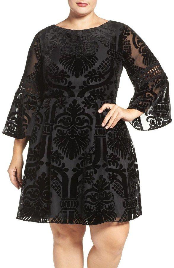 Plus Size Burnout Velvet Fit & Flare Dress
