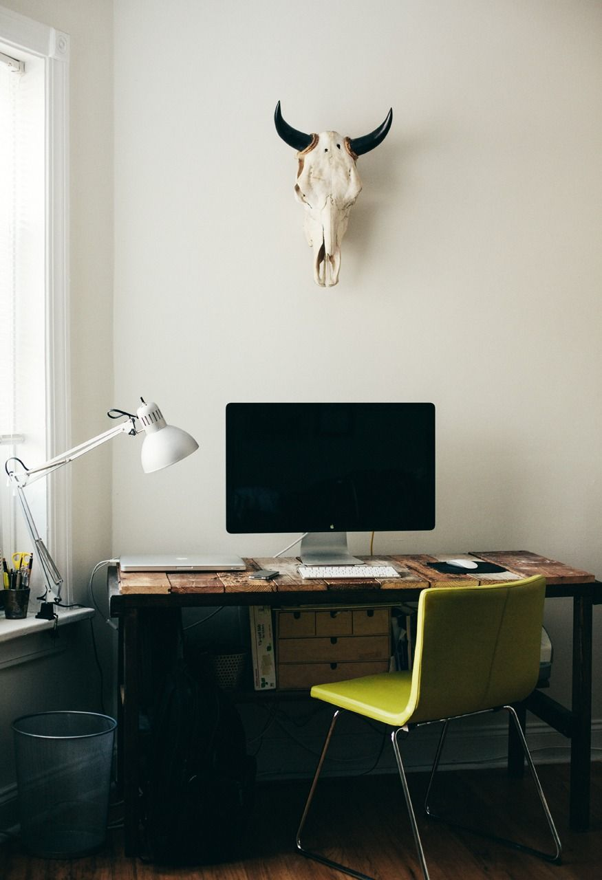 Desk under window ideas  i like how the lamp is mounted on the window ledge and not on the