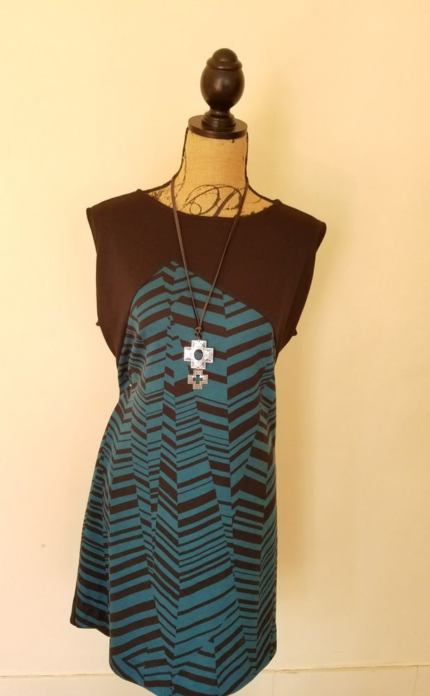 Ply 428 Gwynnie Bee Chevron Colorblock Dress Black Turquoise Plus