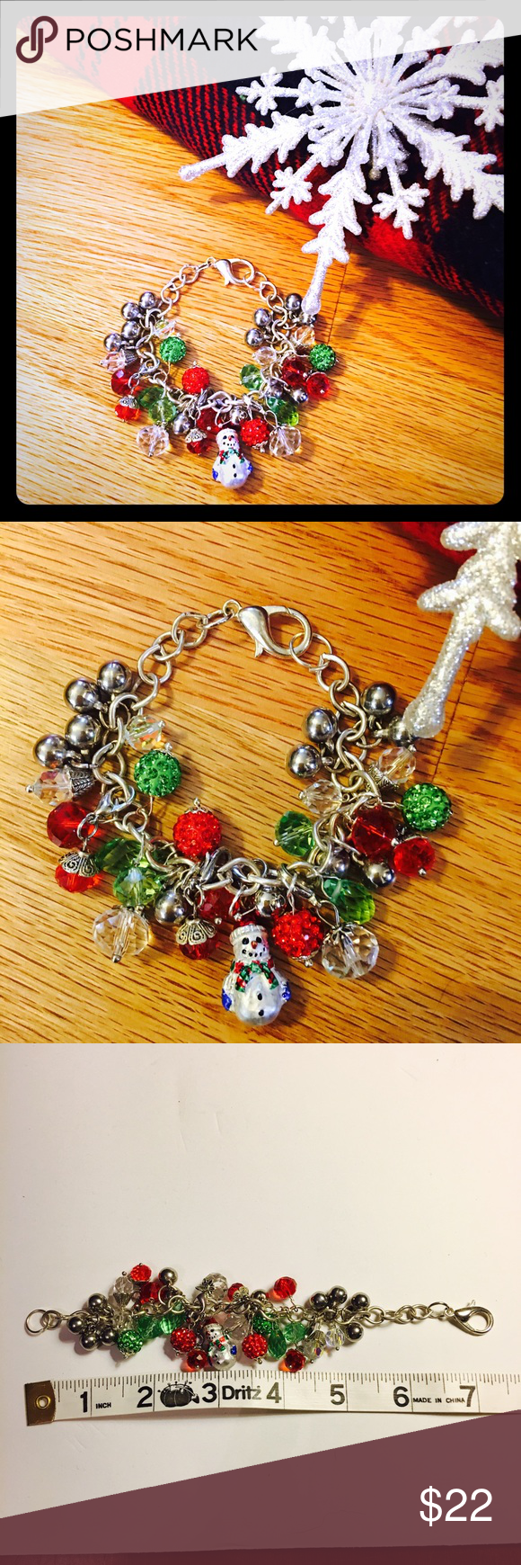 🎄SNOWMAN & SWAROVSKI CRYSTAL CHARMS BRACELET Handmade bracelet. Please see photos for sizing. gibaravintage Jewelry Bracelets