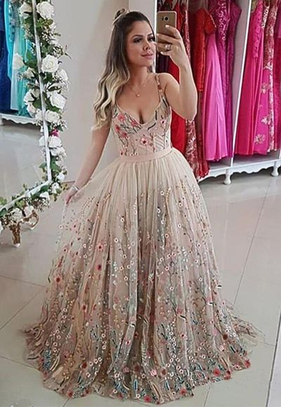Spaghetti Strap Floral Embroidery Long Prom Dress, Formal Dress from Girlsprom
