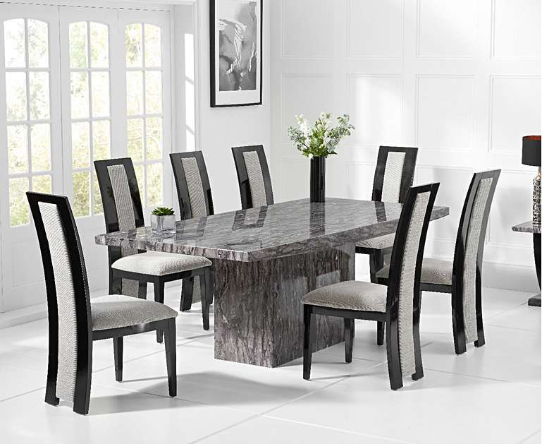 Crema 180cm Grey Marble Dining Table With Raphael Chairs Dining Table Marble Dining Table Marble Dining