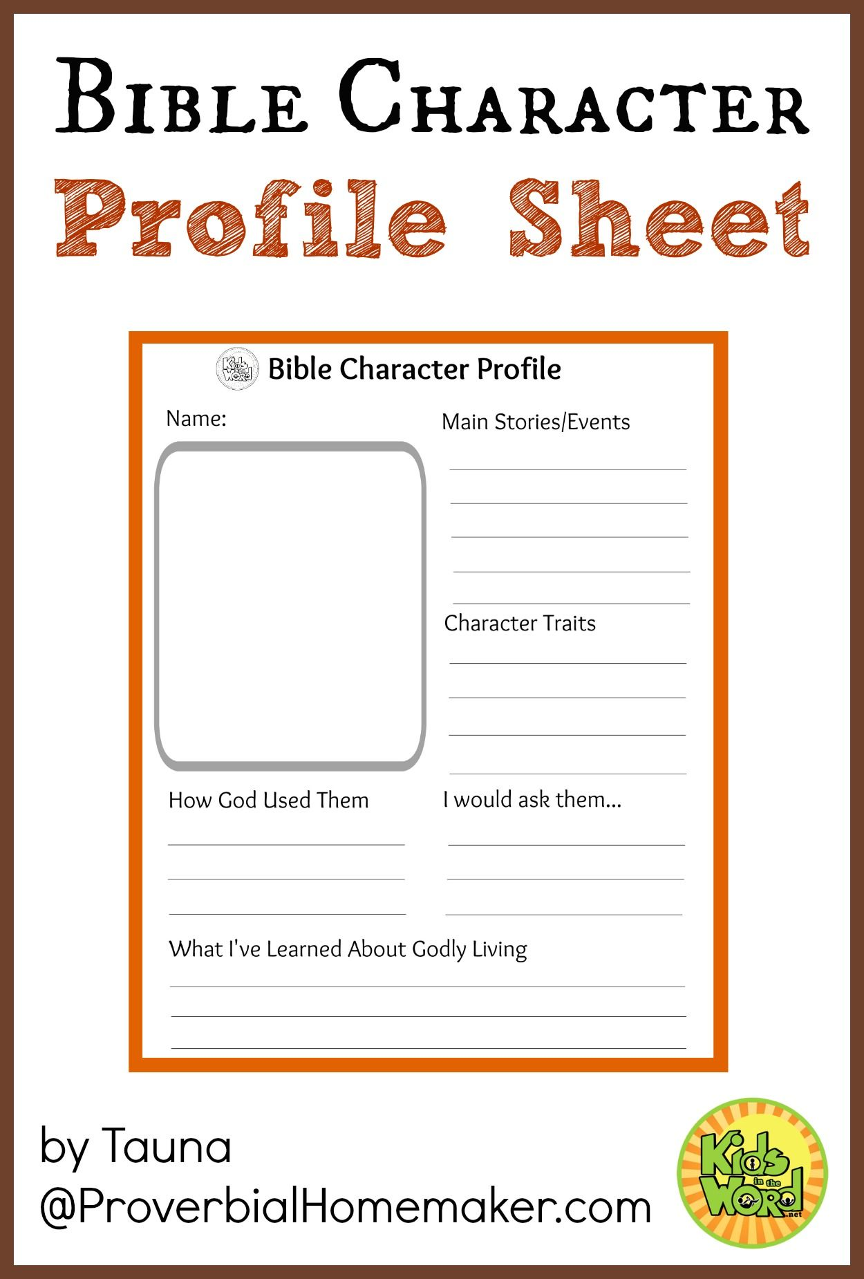 Bible Character Profile Sheet – Bible Worksheets