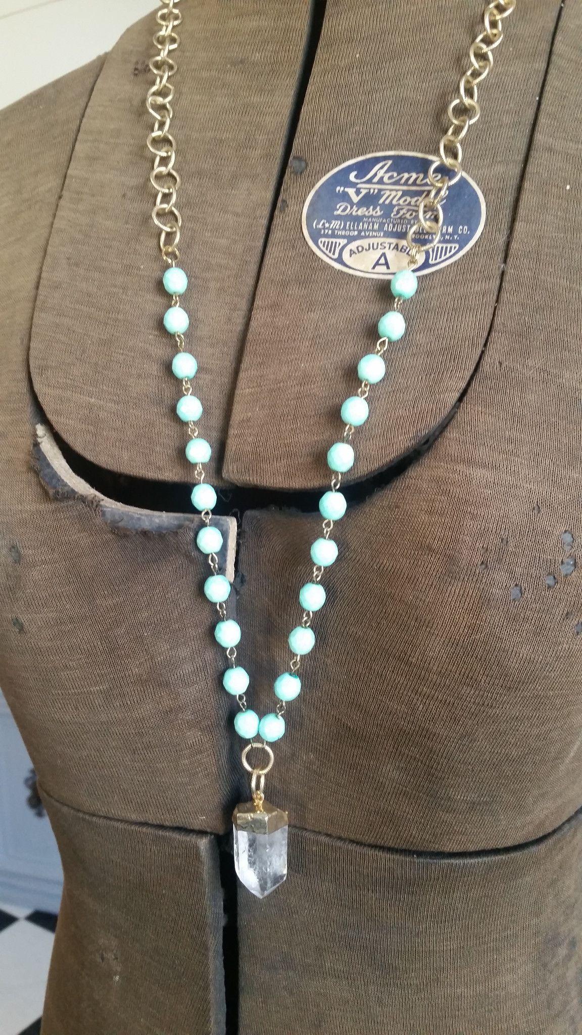Anastasia Necklace with Crystal Beads/Raw Quartz