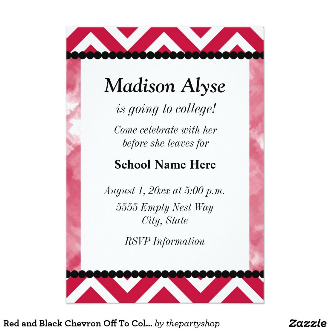 Red And Black Chevron Off To College Party Invite