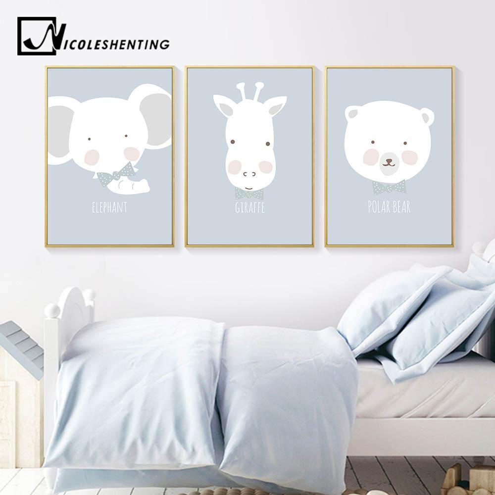 Cartoon Bear Balloon Minimalism Canvas Poster Baby Kids Room Wall Decoration