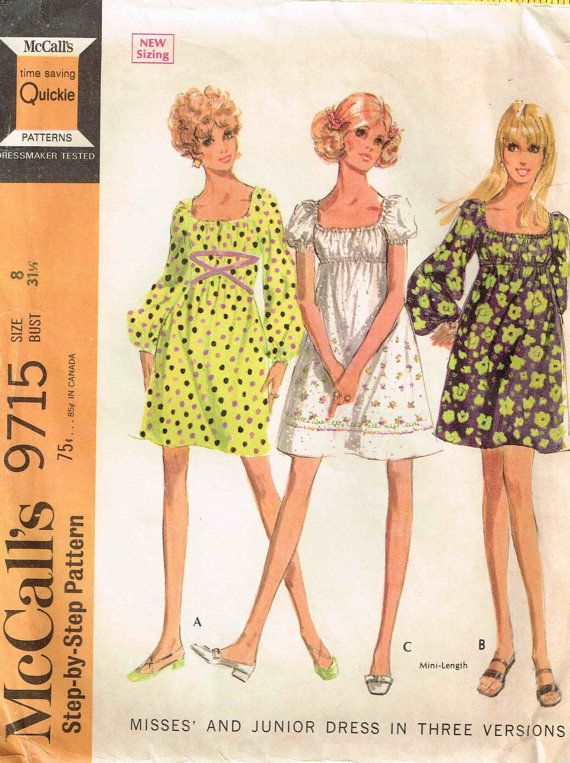 Vintage 1960s Mod Hippy Mini Peasant Gathered Neckline Sewing