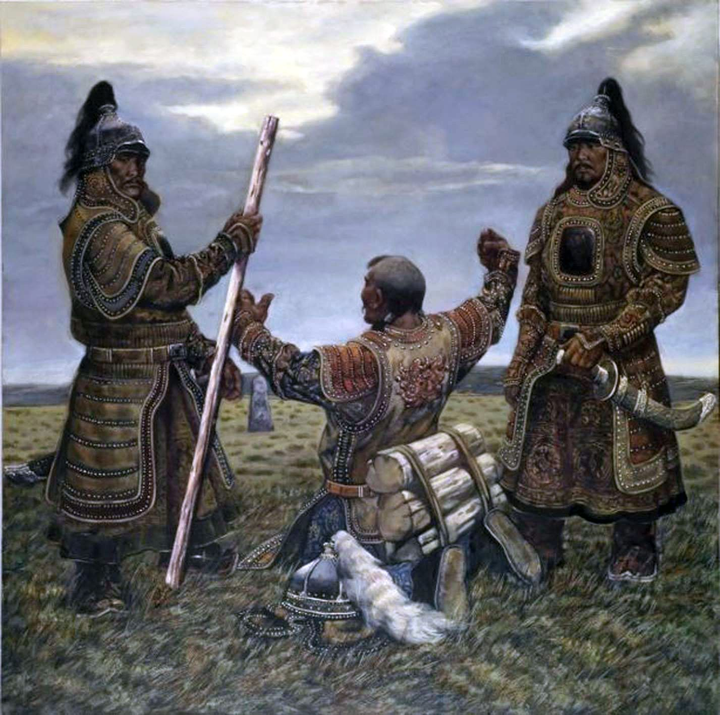genghis khan and his bodyguards mongol war art  genghis khan and his bodyguards