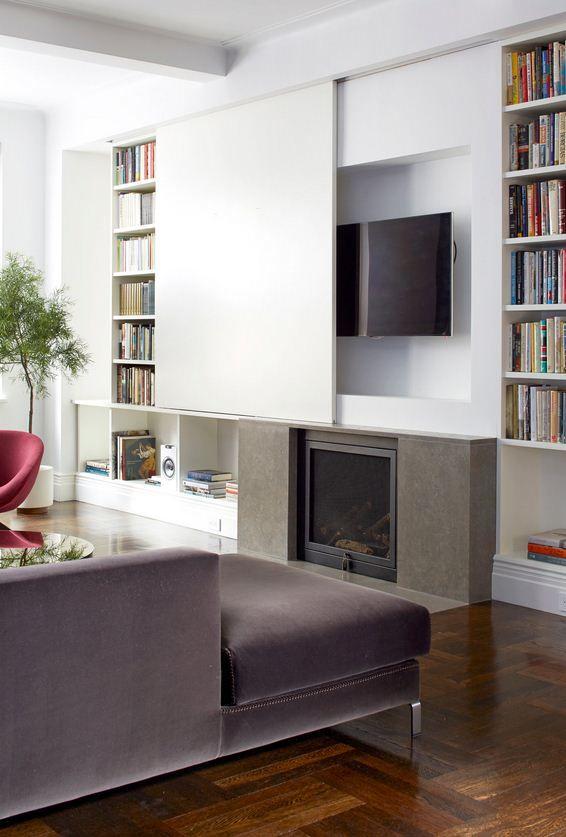 Hidden Tv Living Meuble Cache Tv Bibliotheque Meuble Tv