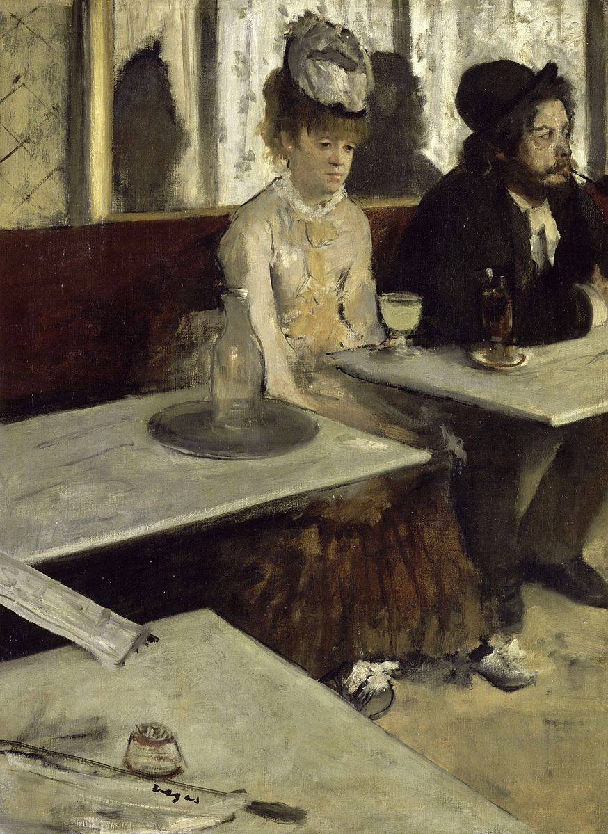 "Edgar Degas - In a Café - Google Art Project -Doesn't she look Happy?I seem to recall a hysterically funny Birthday card using this painting-""L'Absinthe""(note the smoky green drink at her elbow-none other than the maligned absinthe!)"