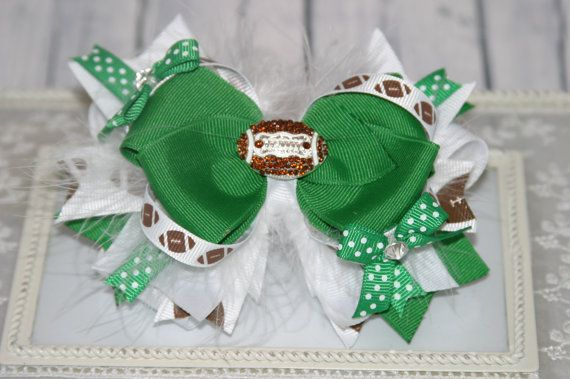 Custom Football Boutique Stacked Bow Green And White
