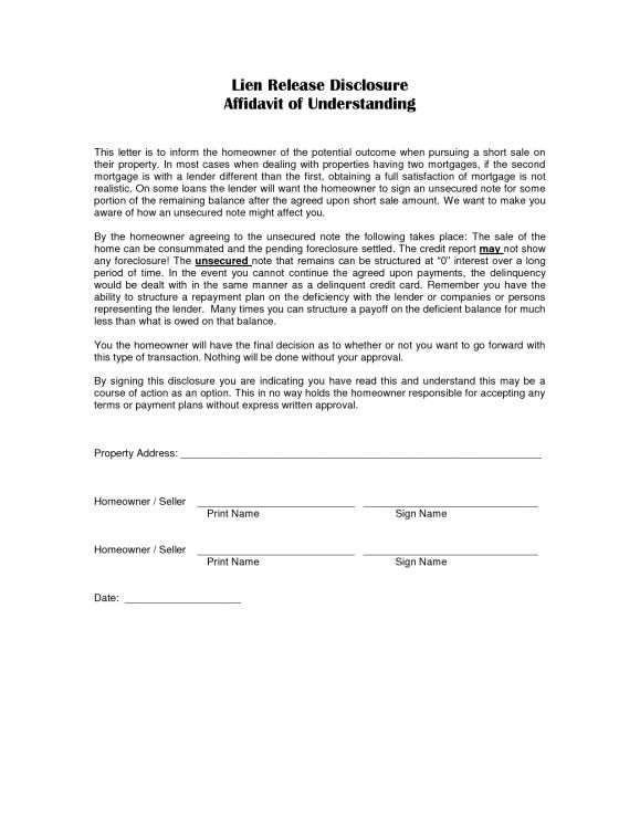 Lien Release Letter Printables World auto lien release letter 1275 - address affidavit sample