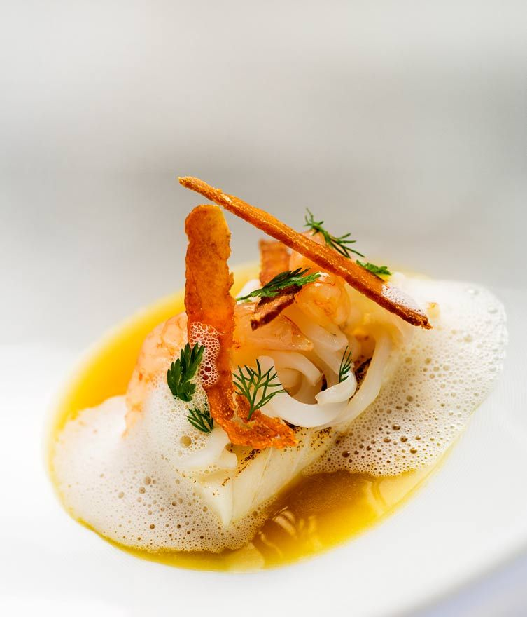 Roasted turbot and fish broth 2 michelin star restaurant for Fish stock recipe