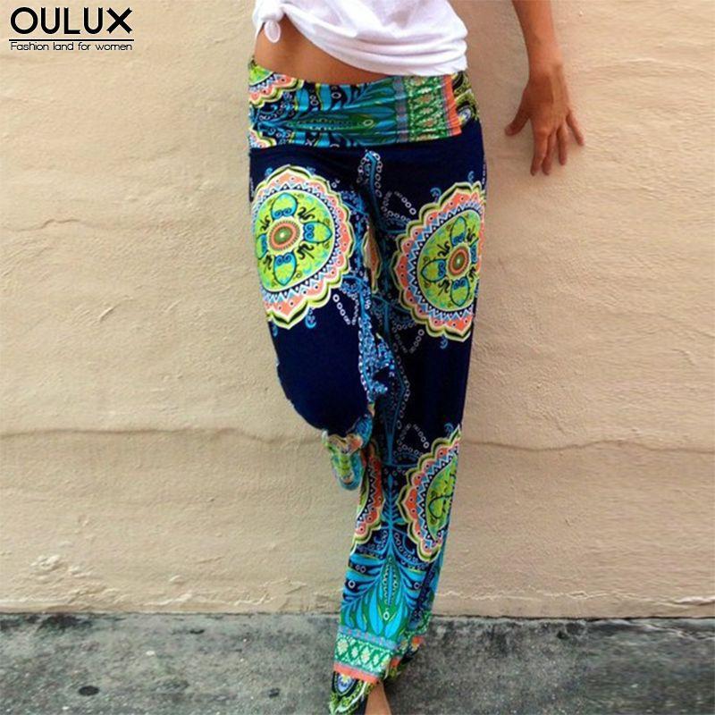 Indian Style Print Yoga Pants Women Sport Elastic High