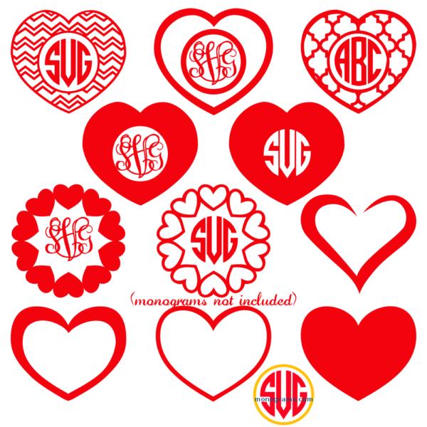 Heart Frames For Monograms Svg Dxf Eps Monogram Frame Valentines Monogram Svg Cricut Monogram