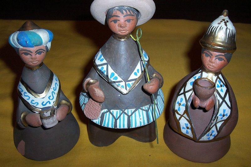 """Mexican Figurines, made and hand painted in Mexico. Each figurine is Approx. 6"""" tall and 3 1/2"""" at the base."""