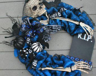Beware Skeleton Halloween Wreath by jennifercausey on Etsy