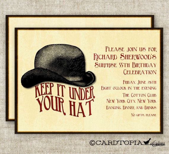 SURPRISE BIRTHDAY PARTY Invitations Vintage by CardtopiaCompany - invitation wording for mystery party