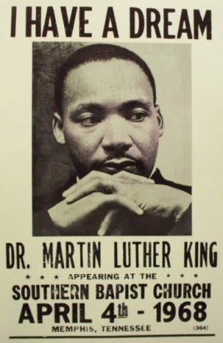 A promo poster for Dr Martin Luther King to give a speech on the