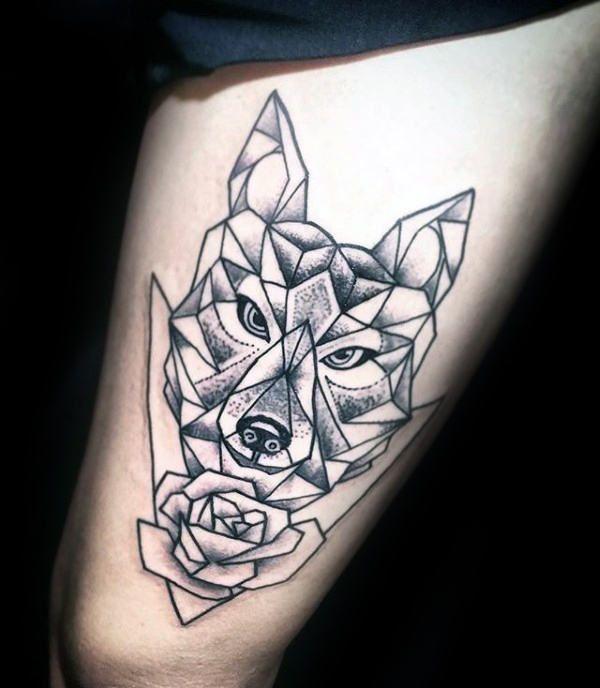 c1caa3079 90 Geometric Wolf Tattoo Designs For Men - Manly Ink Ideas   Tattoo ...