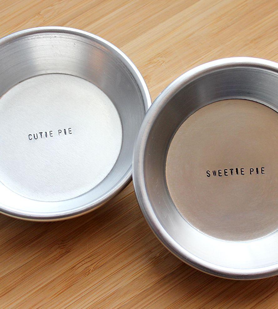 Cutie Pie u0026 Sweetie Pie St&ed Mini Metal Pie Pan Set | Also  more please.  and  I love you more than 3.14  & Cutie Pie u0026 Sweetie Pie Stamped Mini Metal Pie Pan Set | Pan set ...
