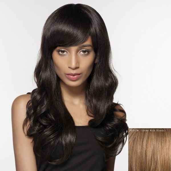 80.2$  Watch now - http://disp9.justgood.pw/go.php?t=203184205 - Faddish Long Side Bang Wavy Siv Hair Human Hair Wig