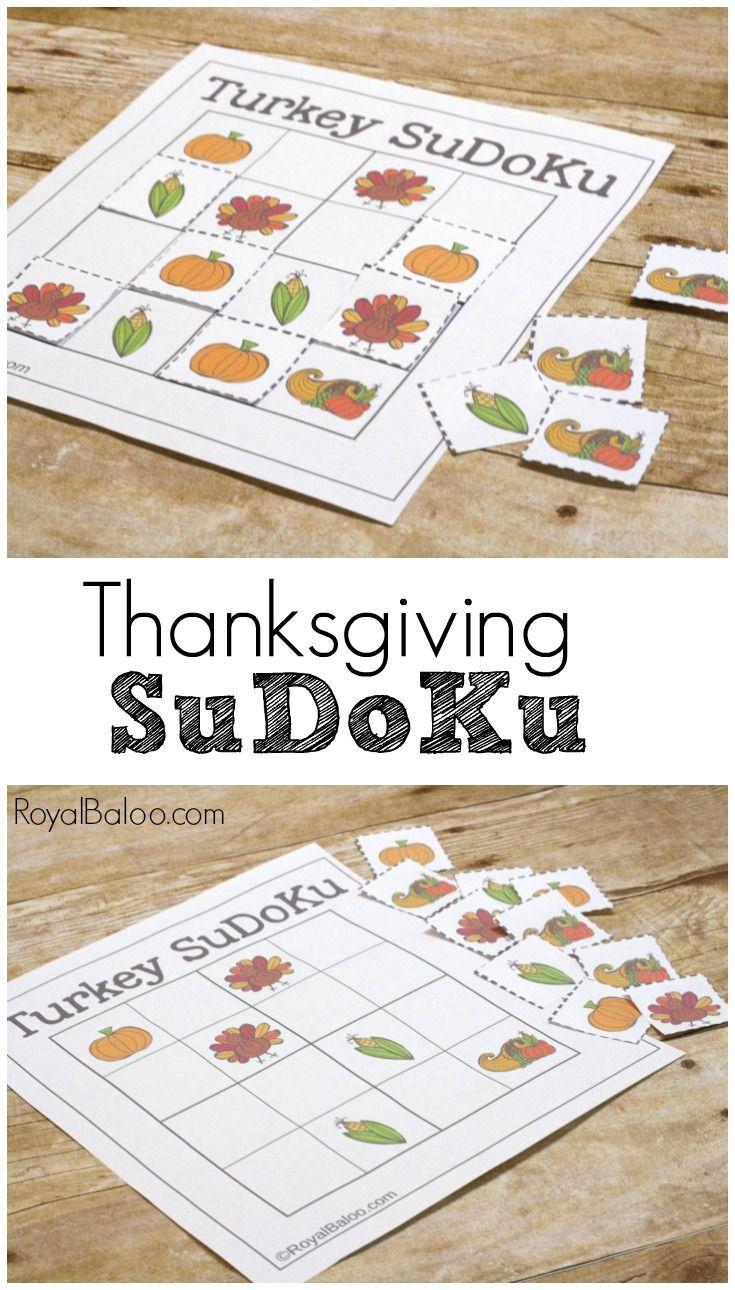 Thanksgiving SuDoKu Logic Games for Kids Logic games for