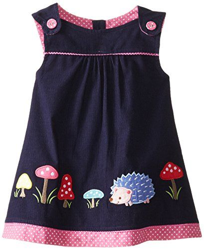 JoJo Maman Bebe Baby-Girls Infant Hedgehog Pinafore Dress, Navy, 6-12 Months…