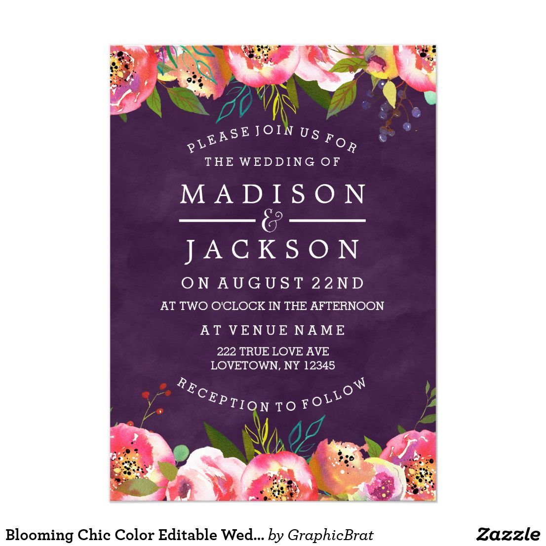 Blooming Chic Color Editable Wedding Invitations | Blooming Chic ...
